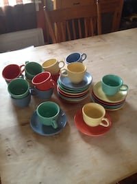 Fiestaware cups and saucers CHARLESTOWN