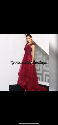 Burgundy evening gown with a train Edmonton, T5X 4T2