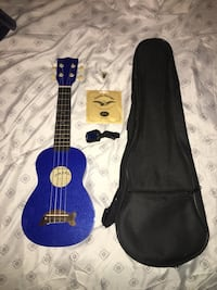 blue and black acoustic guitar with black case Herriman, 84096