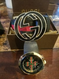 round black and gold analog watch with black leather strap Louisville