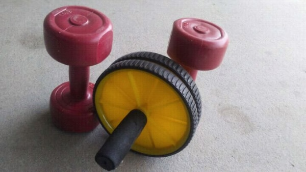 Two 5lb weights and an ab roller