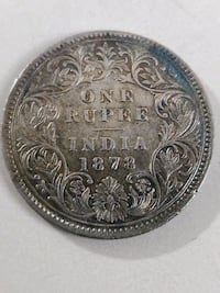 1878 Circulated One Rupee Silver  Coin