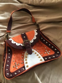 New Leather & Suede shoulder bag studded & ready for your everyday or occasion!! 2384 mi