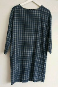 Wool checked blue dress, size S Sentrum, 0181