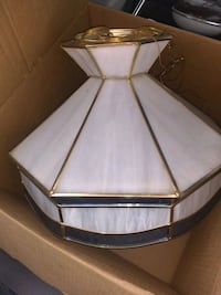 Vintage 70s stainglass hanging light
