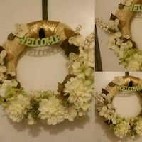 brown and white floral wreath Hampton, 23666