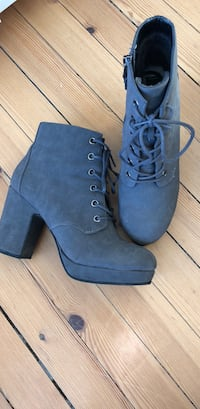 Par grå suede blonder-up chunky heeled booties str 38 Oslo, 0563