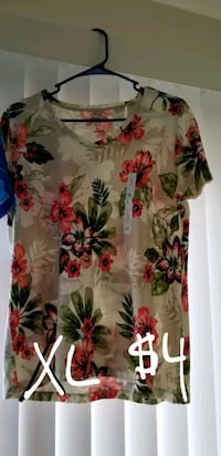 white, red, and green floral scoop neck shirt Lompoc, 93436