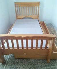 brown wooden bed frame with mattress Austin, 78751