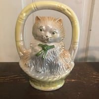 Collectible Vintage Lustreware Cat In a Basket. Made in Brazil #1905.