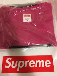 red Supreme crew-neck shirt