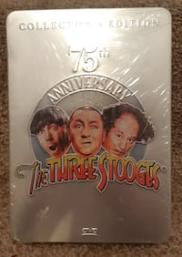 THREE STOOGES 75TH ANNIVERSARY COLLECTORS EDITION IN METAL TIN 3 DVD COLLECTION   A PHOTO LAYOUT FRONT AND BACK OF THE THREE STOOGES   A THREE STOOGES 19 PAGE BOOKLET   DVD'S HAVE A TON OF BONUS MATERIAL SEE LIST ON BACK OF CD'S CASE   CURLY JOE DeRITA, L Newmarket
