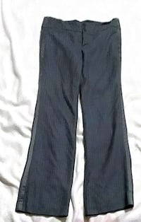 black pinstriped flared dress pants