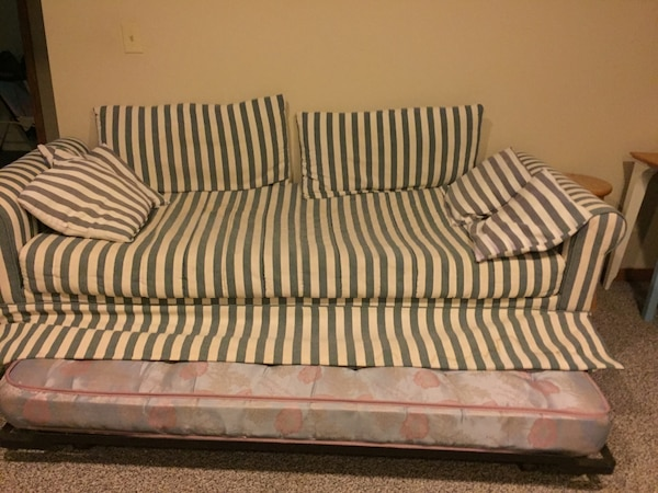 White And Brown Striped Fabric Sofa