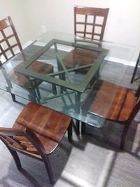 rectangular glass top table with four chairs dining set Austin, 78723