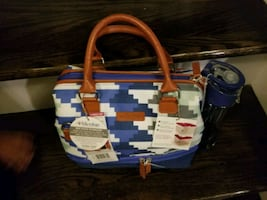 white, blue, and red leather tote bag lunch bag