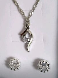 Sterling silver pendant and chain with earrings