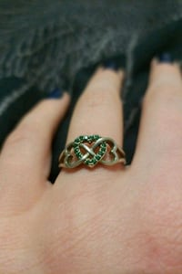 Silver-Heart Infinity Ring w/ May birthstone