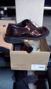 pair of brown leather dress shoes with box SAVANNAH
