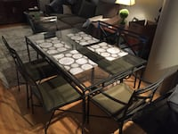Glass Top Kitchen Table with 6 Chairs CHICAGO