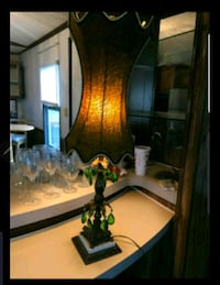Antique handmade lampshade. Bulb and base included.