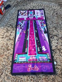 purple and black Barbie area rug for  girls  room
