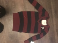 maroon and black striped sweater