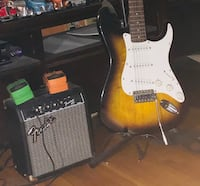 Fender Squire Strat seven piece guitar kit. Perfect outfit for a beginner player. Condition is like new. Sioux Falls, 57104