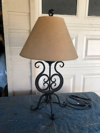 Black iron table lamp with Shade Round Rock, 78681