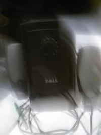 black and grey dell 2.1 channel speaker