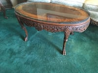 Mahogany carved antique coffee table with glass top Los Angeles, 90034