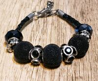 Black Silver Plated Beads & Austrian Crystal Beads on Braided Leather