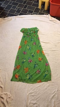 women's green, orange and blue floral strapless maxi dress