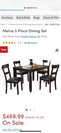 Melva Dining Room Table with 4 Chairs Washington, 20009
