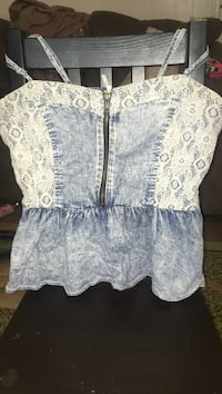 blue and white floral mid zip tank top