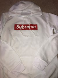 white and red Supreme pull-over hoodie jacket Oakville, L6M