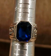 Blue Sapphire and Silver Ring Size 10