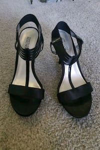 pair of black leather open toe ankle strap heels Stafford, 22554