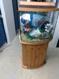 clear glass fish tank with cabinet