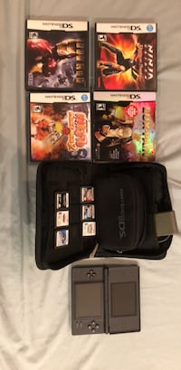 Black nintendo ds with 10 game cartridges and carrying case Washington, 20010