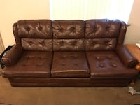 brown leather tufted 3-seat sofa Hanford, 93230