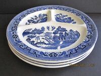 """Qty. 3 Vintage Blue Willow Divided Plates Made In Holland 11"""" Linganore"""