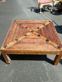 Hand crafted wooden table.