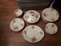 white-and-red floral ceramic dinnerware set Oshawa, L1H 8A5