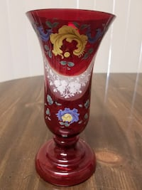 Bohemian Enameled Ruby and Clear Vase Palm Coast, 32137