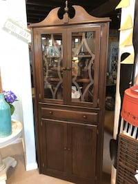 brown wooden framed glass display cabinet Olney
