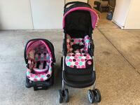 Baby, minnie mouse, pink polka dot, stroller, carrier, new, infant, car seat