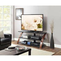 Whalen Brown Cherry 3-in-1 Flat Panel TV Stand for TVs up to 65"