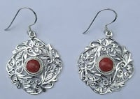 Handcrafted Silver Earrings with coral stone Woodbridge, 22193