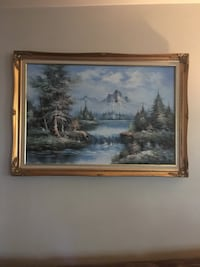 brown wooden framed painting of river Belleville, 62220